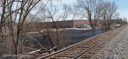 large burned area after grass fire