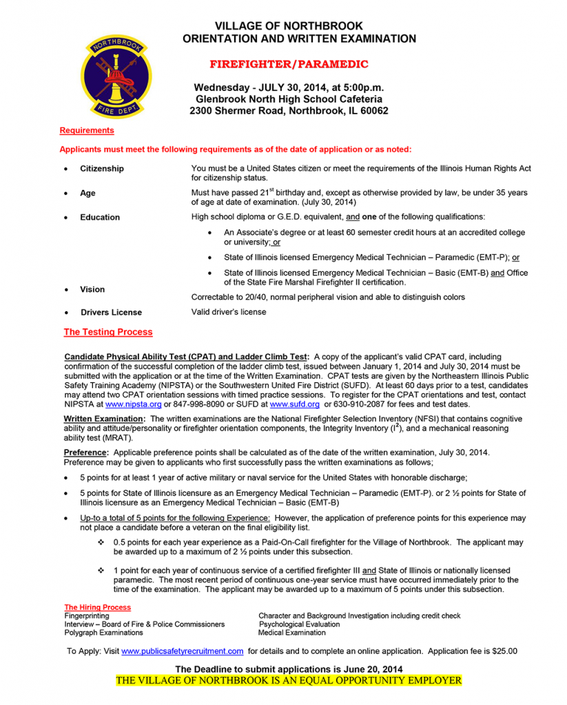 Northbrook Fire Department hiring notice