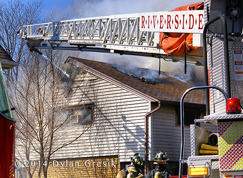 Seagrave quint at fire scene