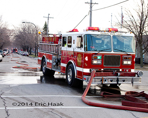 Seagrave fire engine at hydrant