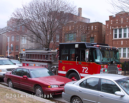 Chicago spartan fire engine at fire scene