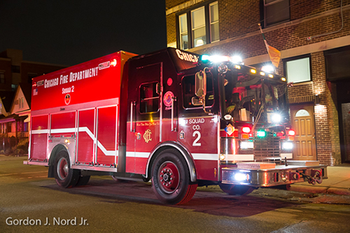 Chicago fire scene at night