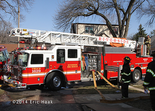 Seagrave aerial ladder at fire scene