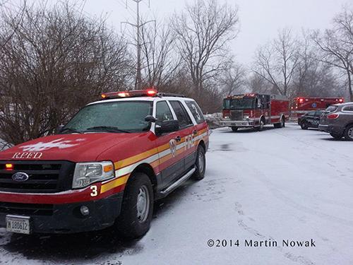 fire vehicles ar fire scene