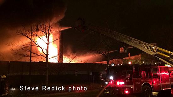 Chicago fire scene at night