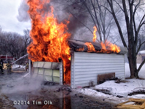 garage fully engulfed with fire