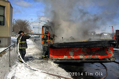 Illinois State DOT snow plow catches fire