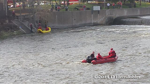 swift water rescue at damn