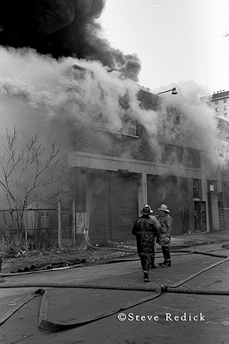 black and white smokey fire scene