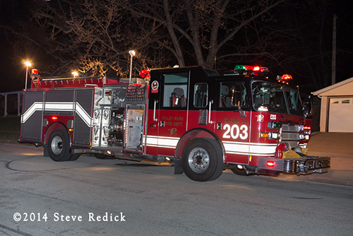 Tinley Park fire engine at fire scene