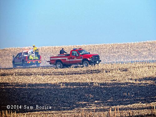 large grass field fire