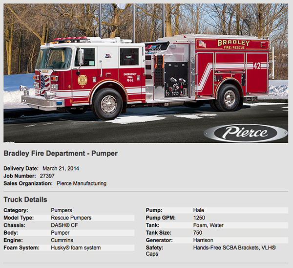 new fire engine for the Bradley FD