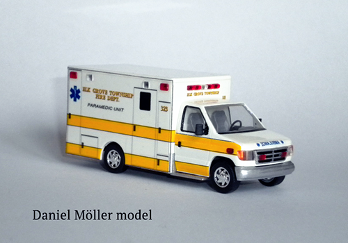 ambulance model made by hand