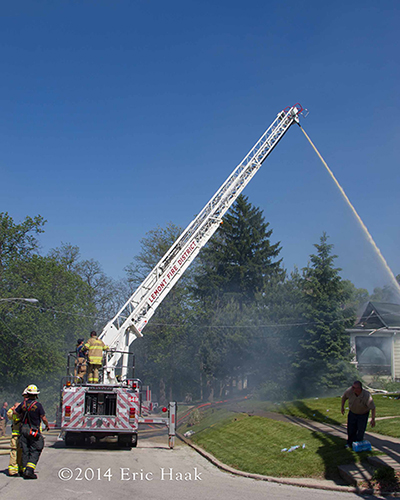 elevated master stream used at house fire