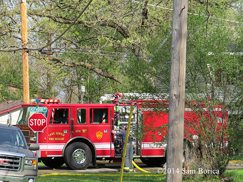 Lake Zurich fire engine at fire scene
