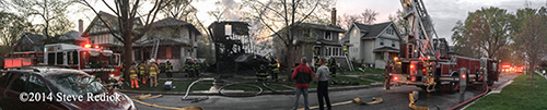 panoramic image of a fire scene