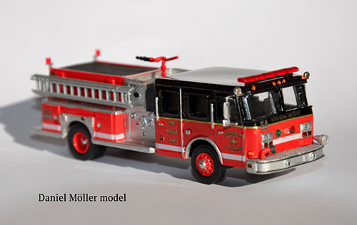 fire truck model made by hand