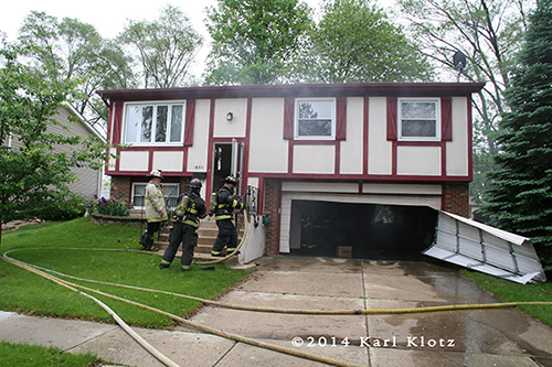 garage fire at split-level home