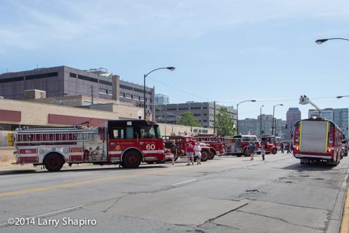 fire trucks on display