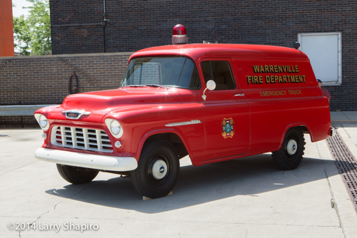 antique fire departmetn squad truck