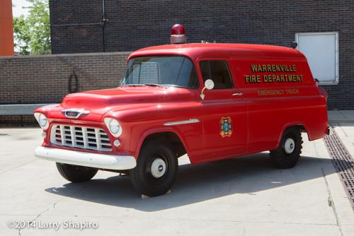 antique fire departmetn squad truck