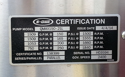 fire engine pump certification tag