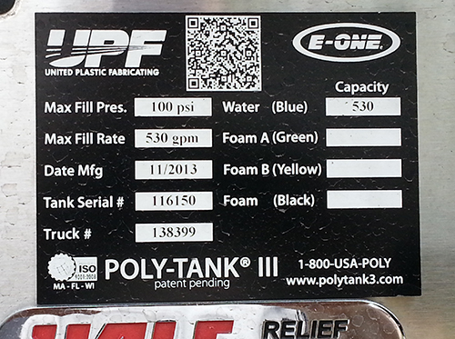 fire engine UPF tank certification tag