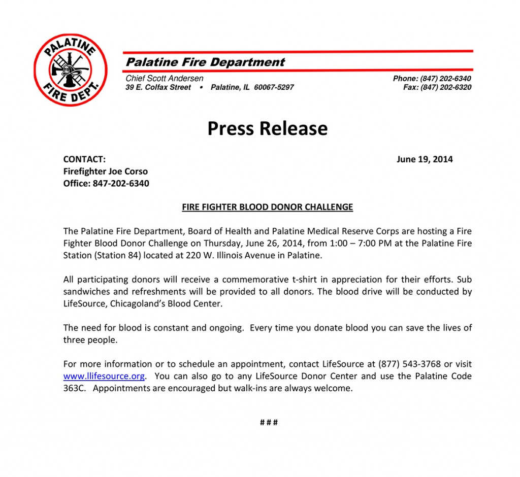 Microsoft Word - 2014 FD Blood Drive Press Release.doc