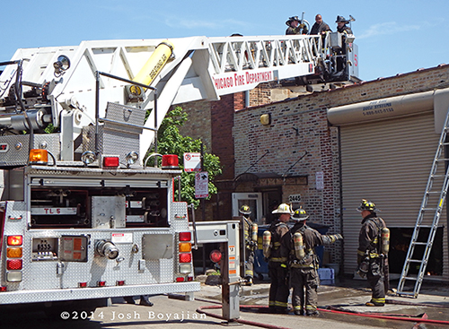 LTI tower ladder at fire scene