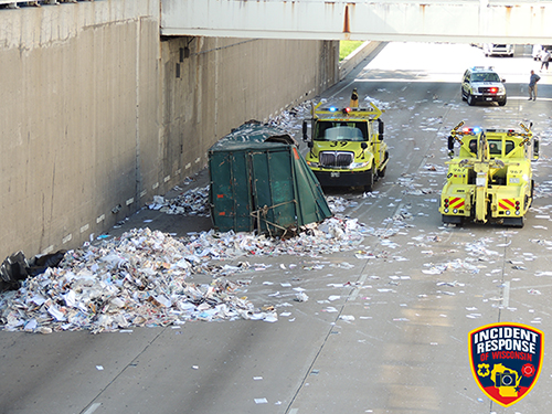 garbage dumpster crashes on Dan Ryan Expressway