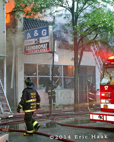 commercial fire scene in Chicago