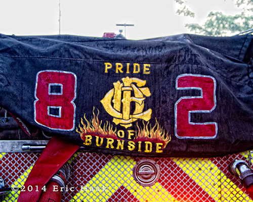 custom hose bed cover on fire engine