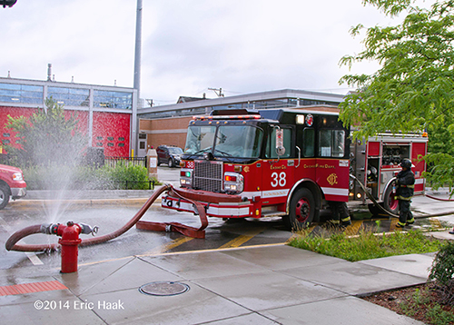 Chicago FD Engine 38 pumping at a fire