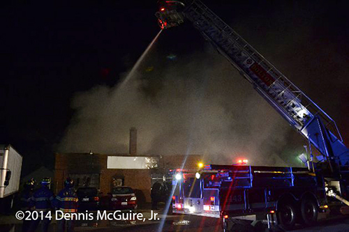 nighttime fire in auto repair shop