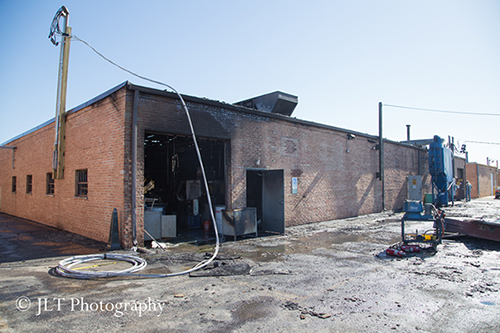 aftermath of warehouse fire