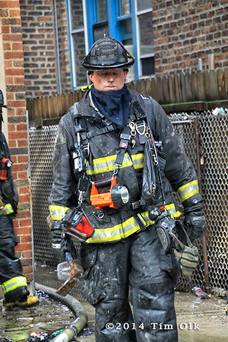 dirty fireman after fighting fire
