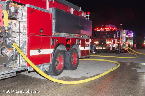 fire department tanker nursing an engine