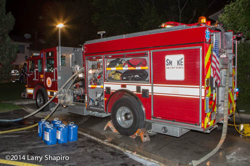 Pierce fire engine at night