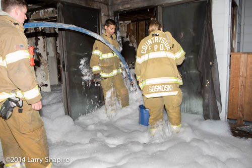 firemen immersed in high expansion foam