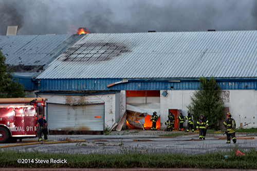 fire in a vacant warehouse