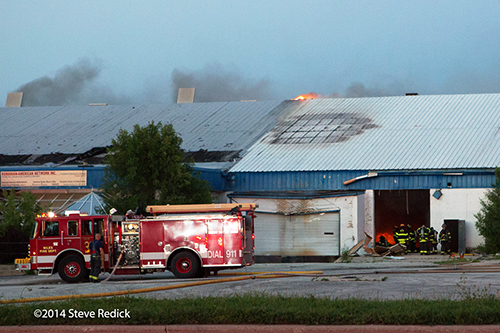 fire engine at warehouse fire