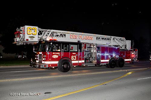 Pierce tower ladder at night
