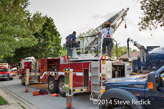 Pierce aerial ladder truck at rescue scene