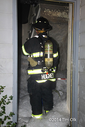 high expansion foam used to fight basement fire
