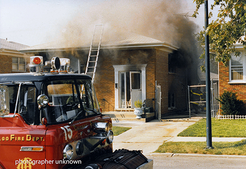 vintage Chicago fire scene from the 1980s