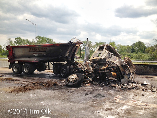 dump truck destroyed by fire on I-57