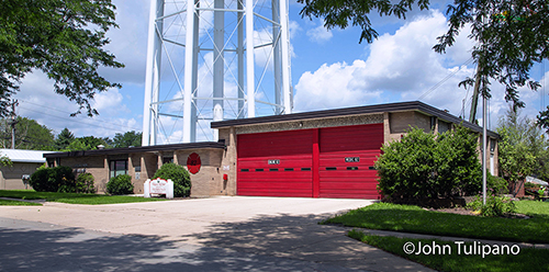fire station with red doors