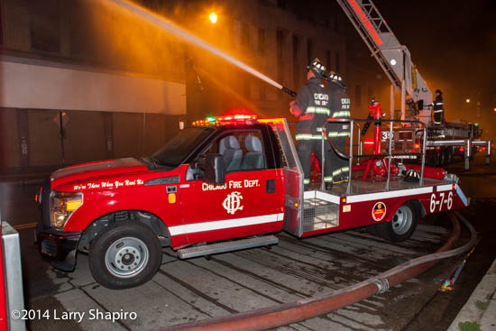 Chicago FD Turret Wagon 676 at a night fire scene