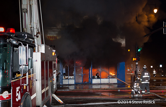 night fire scene in Chicago