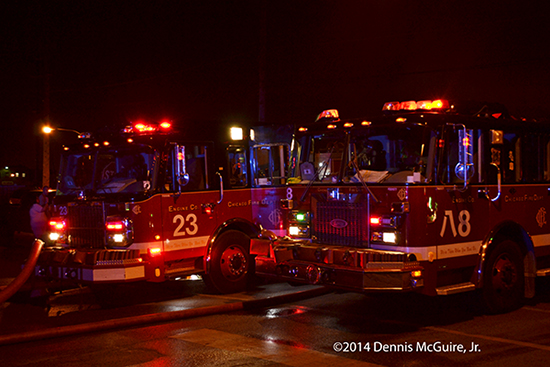 Chicago fire engines at night fire scene